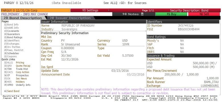 preliminary info paraguay bond 2026